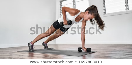 Home fitness plank rij training asian Stockfoto © Maridav