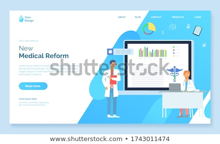 New medical reform, medical website, doctor with clipborad, therapist with stethoscope, landing page Stock photo © robuart