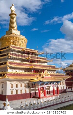 Ponto de referência famoso árvores viajar ouro telhado Foto stock © bbbar