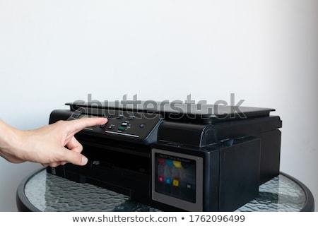 Człowiek skaner portret nerwowy biznesmen pracy Zdjęcia stock © pressmaster