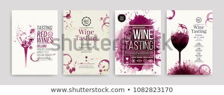 Vin liste illustration bouteille de vin verre de vin Photo stock © naffarts