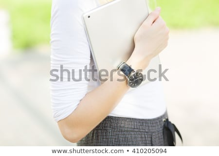 woman with ipad tablet computer walking on urban street stock photo © adamr