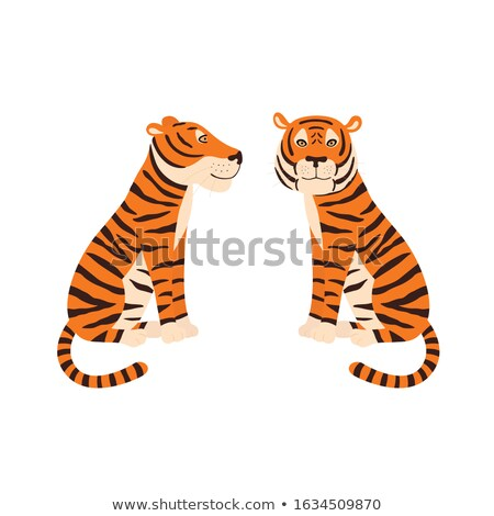 Graphic Vector Image of a Happy Cute Tiger Mascot  stock photo © chromaco