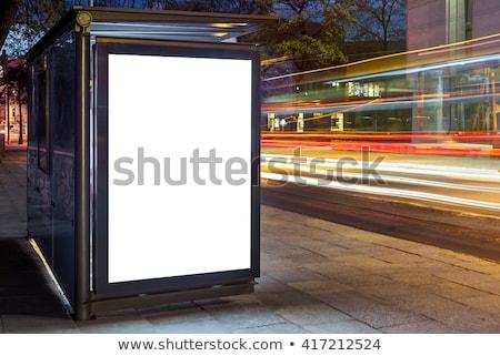 Stok fotoğraf: Otobüs · durağı · modern · barınak · gökyüzü · ağaçlar · turuncu