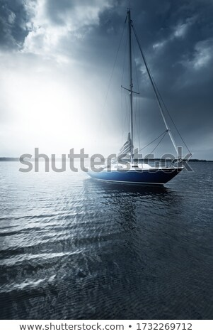 Sailing Boat Anchoring at the Norwegian Coast Stock photo © ildi