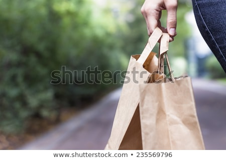 Brązowy papier torbę na zakupy roślin biały Zdjęcia stock © devon