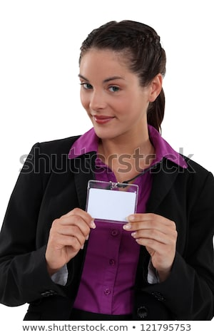 Woman proudly displaying visitors badge Stock photo © photography33