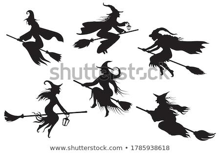 jovem · bruxa · voador · cabo · de · vassoura · festa · crianças - foto stock © carodi