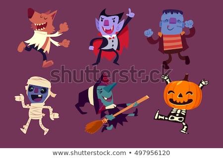 Halloween conjunto desenho animado isolado branco Foto stock © timurock