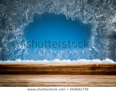 Mroźny wzór okno sezon zimowy tekstury świetle Zdjęcia stock © ozaiachin