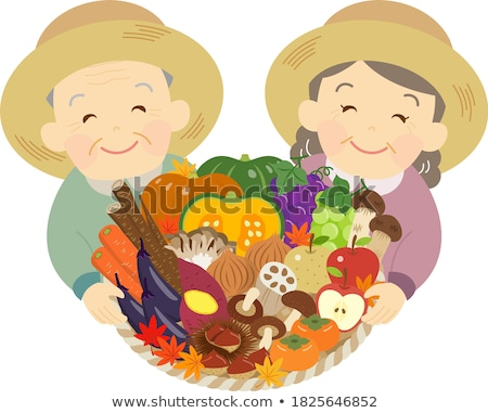 Senior couple with baskets of chestnuts Stock photo © photography33