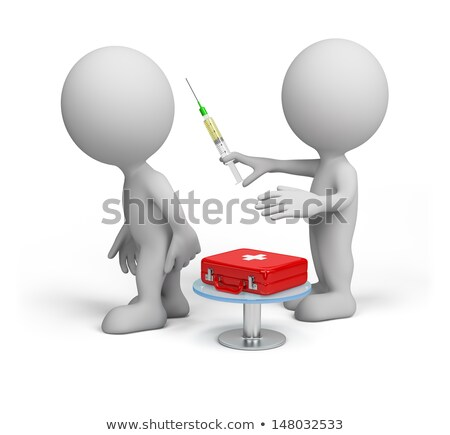 Stok fotoğraf: 3d White People With A Medical Syringe