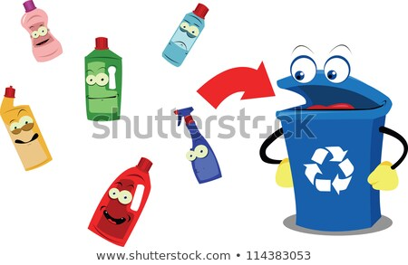 Stock photo: Funny Recycling Bin and Plastic Bottles
