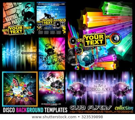 Photo stock: Disco · club · flyer · grand · orateurs · résumé