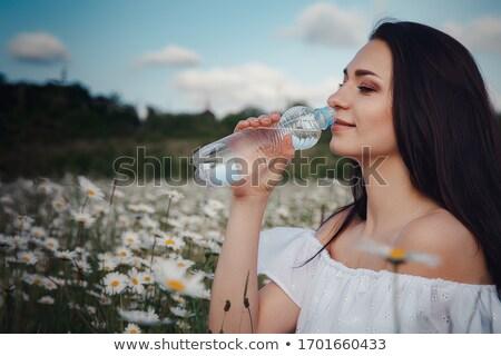 Drinking water bottle on green field Stock photo © cgsniper
