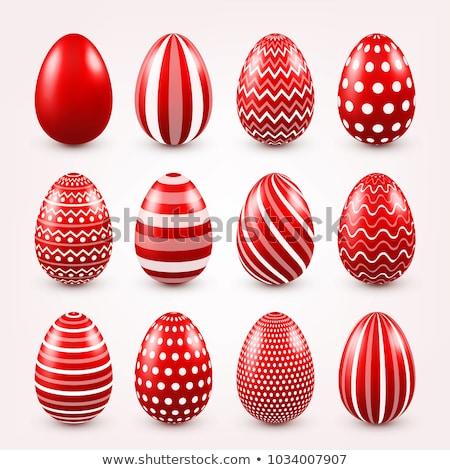 Czerwony Easter Eggs niebieski zielone pasiasty biały Zdjęcia stock © marinini