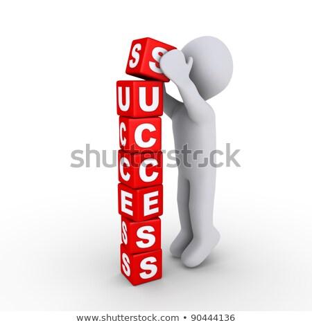 Gens 3d succès cubes bâtiment lettres affaires Photo stock © Quka