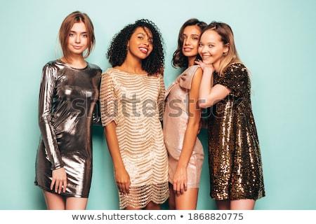 セクシー ブルネット ポーズ ドレス ネックライン 孤立した ストックフォト © acidgrey