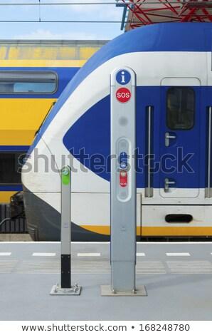 Sos assinar estação de trem ícones mão Foto stock © ifeelstock