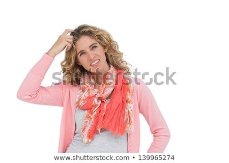 zavart · nő · fej · gondolkodik · vicces · magasról · fotózva - stock fotó © wavebreak_media