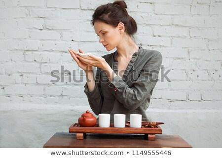 seduta · meditazione · posa · tè · set - foto d'archivio © hasloo