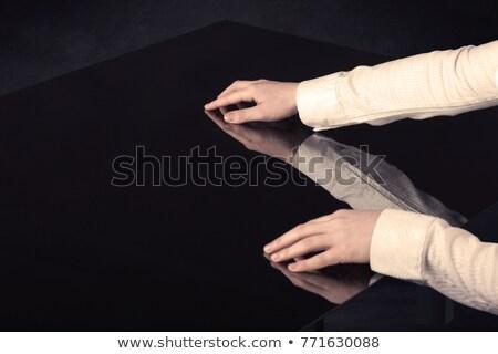 biznesmen · kontakcie · palec · kopia · przestrzeń · twarz · sexy - zdjęcia stock © lunamarina