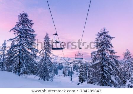sky lift chairs at a snow ski resort stock photo © zzve