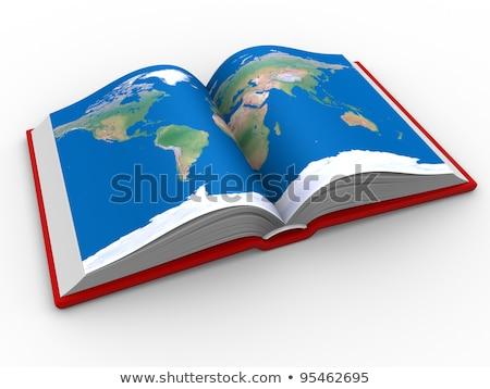 Atlasz könyv térkép kinyitott öreg papír Stock fotó © taden