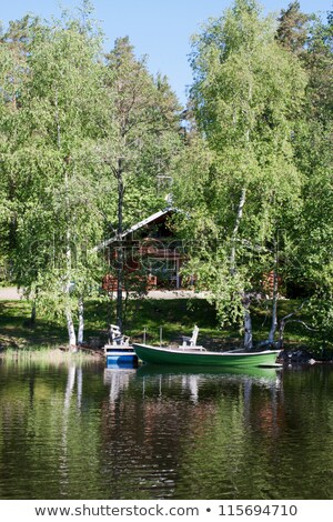 穏やかな 農村 湖 フィンランド 春 青 ストックフォト © tainasohlman