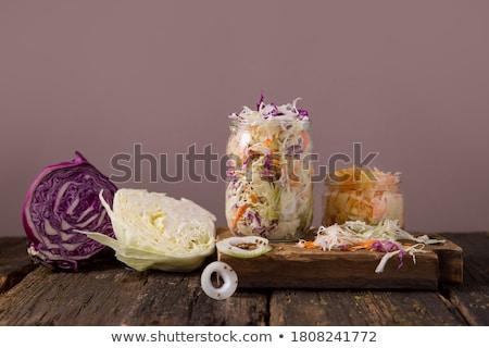 Lâhana turşusu bileşen gıda ahşap arka plan pişirme Stok fotoğraf © M-studio