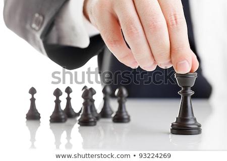 Satranç tahtası iş adamları İş stratejisi yalıtılmış erkekler satranç Stok fotoğraf © Kirill_M