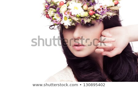 closeup portrait of young beautiful girl with perfect skin on yellow stock photo © stryjek