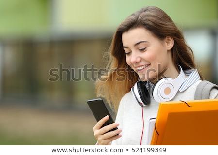 sexy · girl · mobiele · telefoon · sexy · blond · meisje · werk - stockfoto © dash