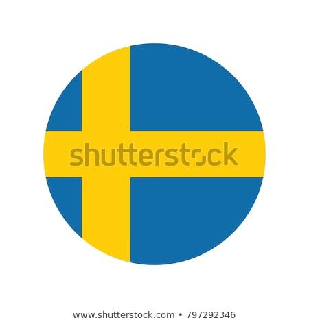 Svédország · zászló · ikon · izolált · fehér · internet - stock fotó © zeffss
