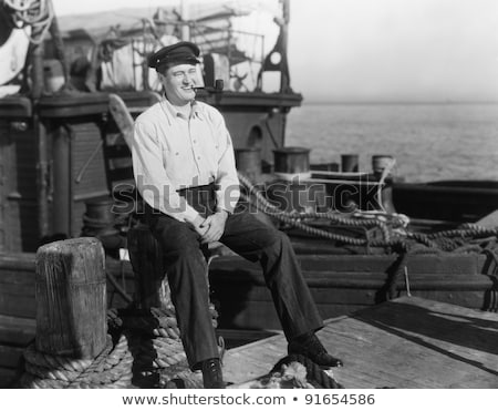 Stock photo: old sailor on pier