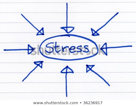 Stress, circled and written in blue ink on white paper. Stock photo © latent