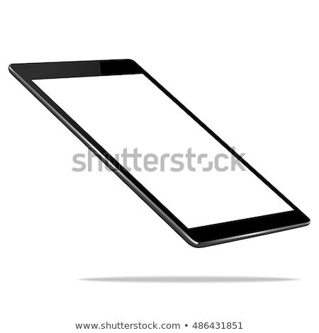 negro · tableta · aislamiento · vista · lateral · vector · eps10 - foto stock © MPFphotography