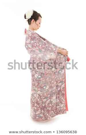 Kimonó öntet illusztráció naplemente nő tánc Stock fotó © adrenalina