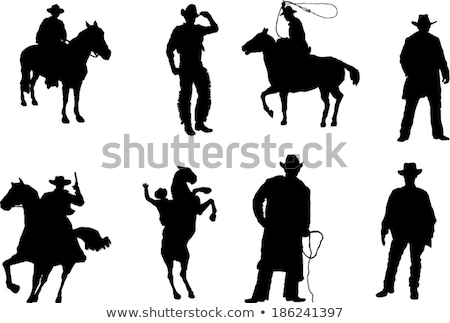 Set of cowboy silhouettes Stock photo © antonbrand