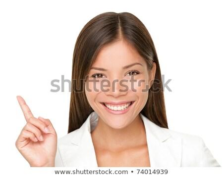 ázsiai fiatal nő mutat ujj fej öngyilkosság Stock fotó © bmonteny