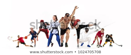 athletic man and woman with ball on the white stock photo © vlad_star