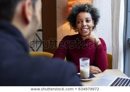 Kobieta ręce podbródek chłopak ramię Zdjęcia stock © feedough