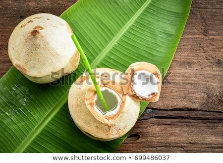 kókusz · kagyló · tej · fekete · rusztikus · organikus - stock fotó © dezign56