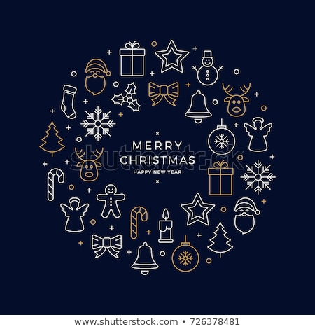 Stok fotoğraf: Toplama · Noel · simgeler · kar · taneleri · kardan · adam