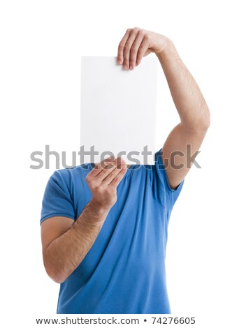 casual young man with board in front of face stock photo © feedough