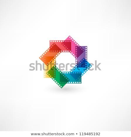 Vermelho rolo de filme ícone isolado branco Foto stock © cidepix