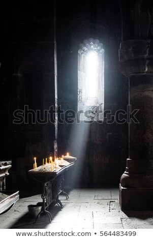 Burning Candles inside Stoned Chapel Stock photo © ankarb