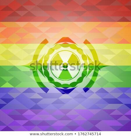 Radioactieve teken paars vector icon ontwerp Stockfoto © rizwanali3d