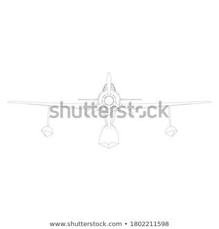 Old combat Airplane on the air. Vector illustration Stock photo © leonido