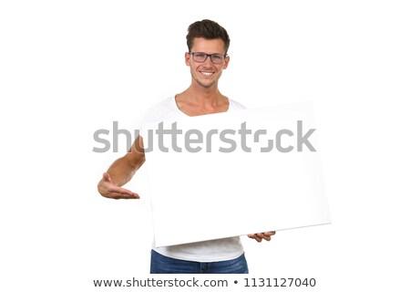 férfi · néz · óriásplakát · teljes · alakos · fiatalember · izolált - stock fotó © AndreyPopov
